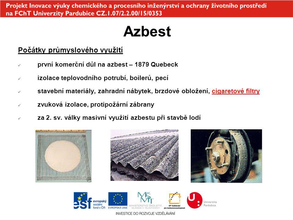 Azbest Počátky průmyslového využití první komerční důl na azbest – 1879 Quebeck izolace teplovodního potrubí, boilerů, pecí stavební materiály, zahrad