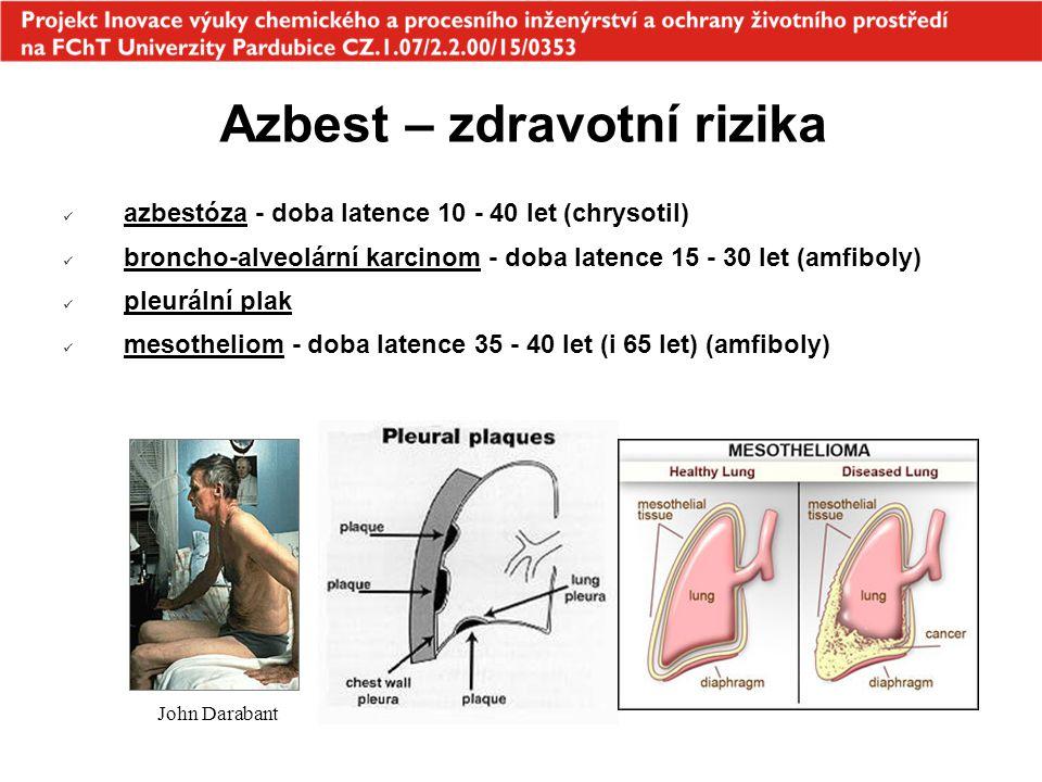Azbest – zdravotní rizika azbestóza - doba latence 10 - 40 let (chrysotil) broncho-alveolární karcinom - doba latence 15 - 30 let (amfiboly) pleurální