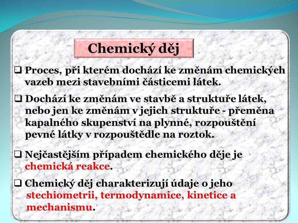 Chemický děj  Nejčastějším případem chemického děje je chemická reakce.  Proces, při kterém dochází ke změnám chemických vazeb mezi stavebními části
