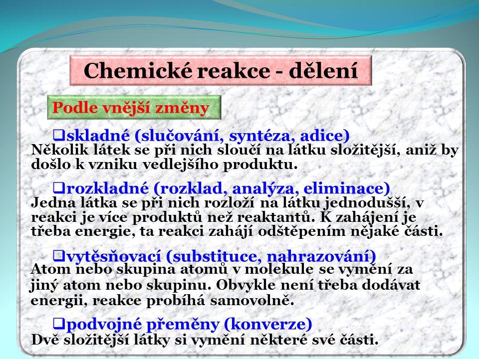 Chemické reakce - dělení Podle vnější změny  skladné (slučování, syntéza, adice)  rozkladné (rozklad, analýza, eliminace)  vytěsňovací (substituce,