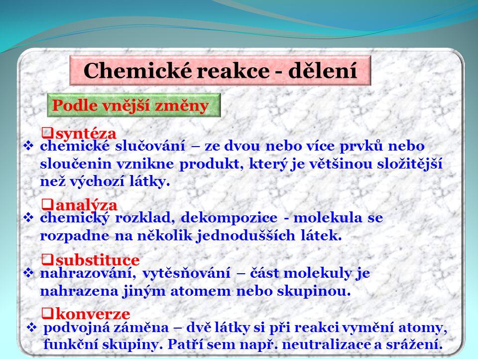 Chemické reakce - dělení Podle vnější změny  syntéza  analýza  substituce  konverze  podvojná záměna – dvě látky si při reakci vymění atomy, funk