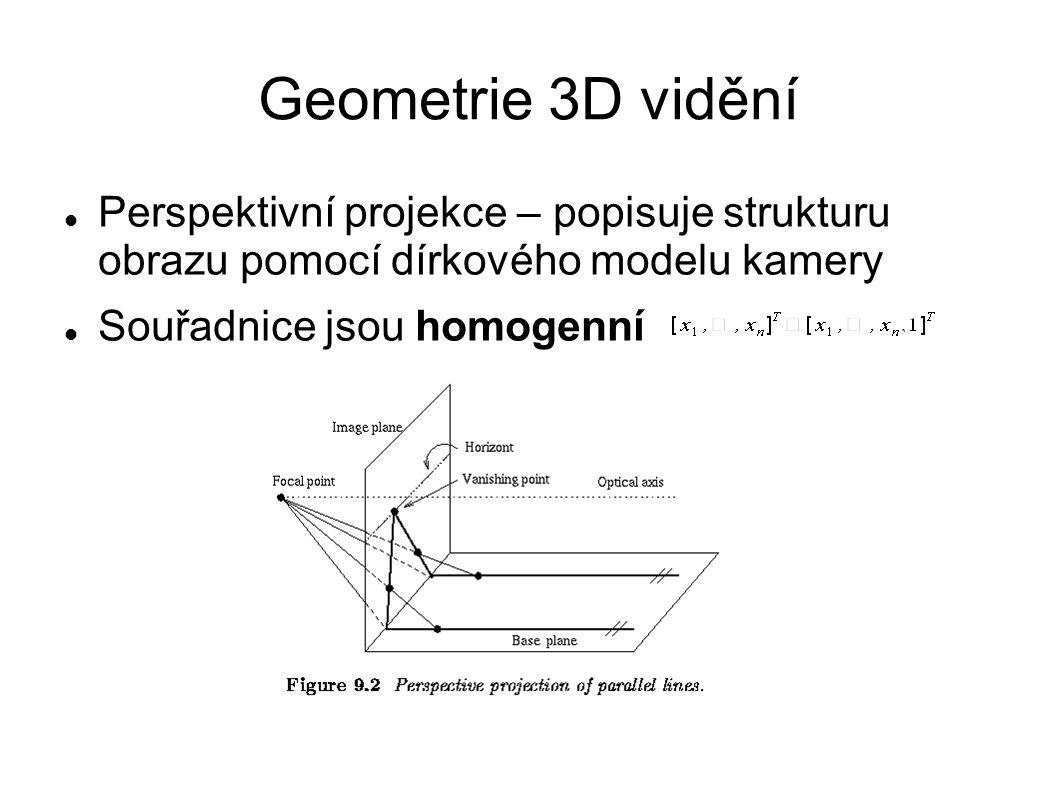 Geometrie 3D vidění Perspektivní projekce – popisuje strukturu obrazu pomocí dírkového modelu kamery Souřadnice jsou homogenní