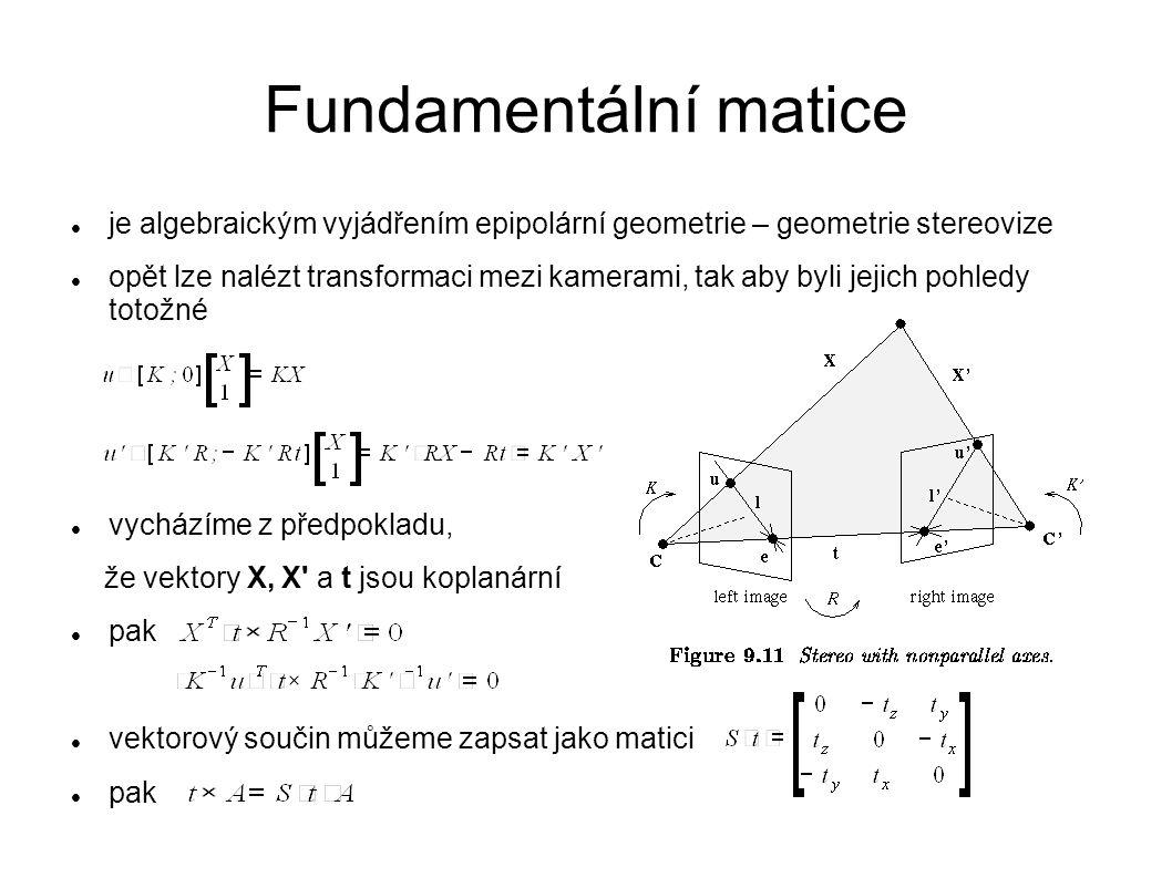 Fundamentální matice je algebraickým vyjádřením epipolární geometrie – geometrie stereovize opět lze nalézt transformaci mezi kamerami, tak aby byli j