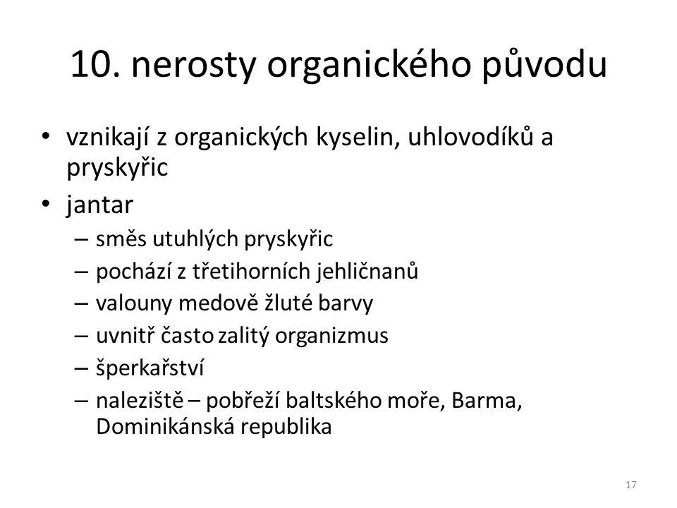 10. nerosty organického původu vznikají z organických kyselin, uhlovodíků a pryskyřic jantar – směs utuhlých pryskyřic – pochází z třetihorních jehlič