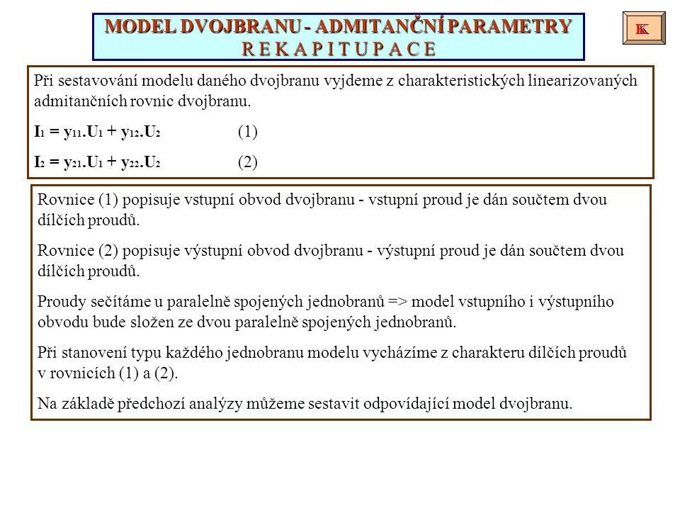Při sestavování modelu daného dvojbranu vyjdeme z charakteristických linearizovaných admitančních rovnic dvojbranu. I 1 = y 11.U 1 + y 12.U 2 (1) I 2