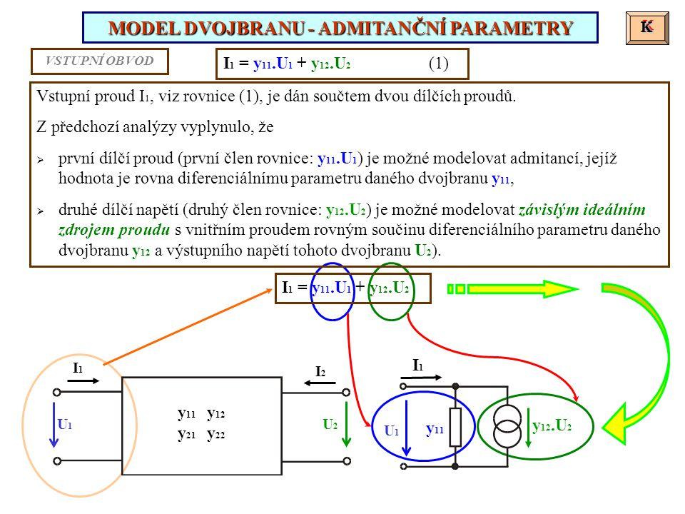 K K Vstupní proud I 1, viz rovnice (1), je dán součtem dvou dílčích proudů. Z předchozí analýzy vyplynulo, že  první dílčí proud (první člen rovnice:
