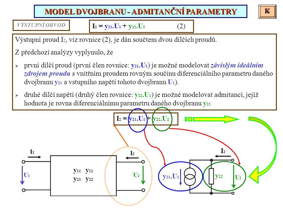 K K Výstupní proud I 2, viz rovnice (2), je dán součtem dvou dílčích proudů. Z předchozí analýzy vyplynulo, že  první dílčí proud (první člen rovnice