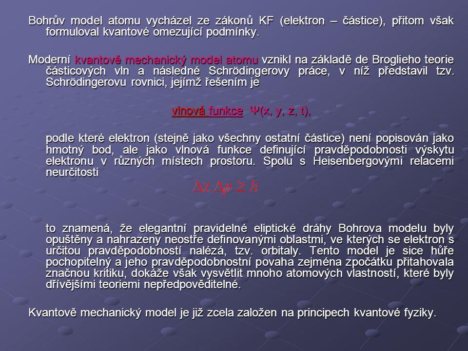 Bohrův model atomu vycházel ze zákonů KF (elektron – částice), přitom však formuloval kvantové omezující podmínky. Moderní kvantově mechanický model a