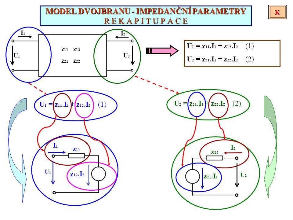 I1I1 I2I2 U1U1 U2U2 U 1 = z 11.I 1 + z 12.I 2 (1) U 2 = z 21.I 1 + z 22.I 2 (2) MODEL DVOJBRANU - IMPEDANČNÍ PARAMETRY R E K A P I T U P A C E KK K U 1 = z 11.I 1 + z 12.I 2 (1) U 2 = z 21.I 1 + z 22.I 2 (2) z 21.I 1 I2I2 z 22 U2U2 z 12.I 2 I1I1 z 11 U1U1 z 11 z 12 z 21 z 22