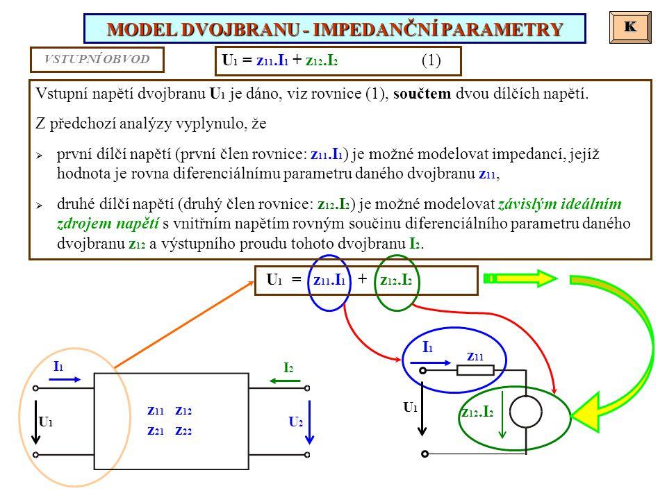 MODEL DVOJBRANU - IMPEDANČNÍ PARAMETRY K K U 1 = z 11.I 1 + z 12.I 2 (1) Vstupní napětí dvojbranu U 1 je dáno, viz rovnice (1), součtem dvou dílčích napětí.