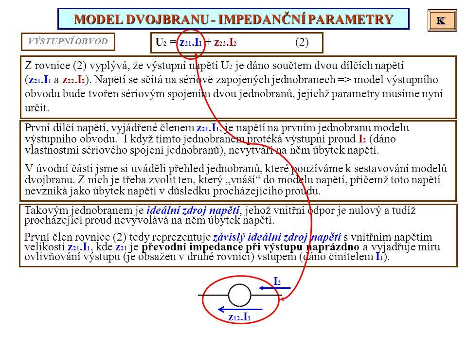 MODEL DVOJBRANU - IMPEDANČNÍ PARAMETRY K K U 2 = z 21.I 1 + z 22.I 2 (2) První dílčí napětí, vyjádřené členem z 21.I 1, je napětí na prvním jednobranu