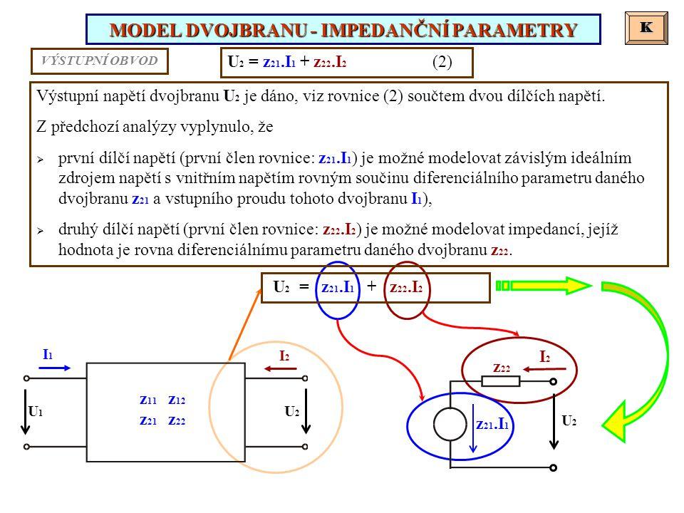 MODEL DVOJBRANU - IMPEDANČNÍ PARAMETRY K K U 2 = z 21.I 1 + z 22.I 2 (2) Výstupní napětí dvojbranu U 2 je dáno, viz rovnice (2) součtem dvou dílčích napětí.