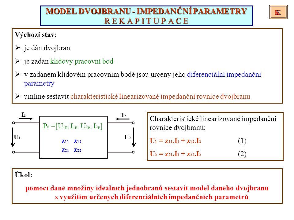 I1I1 I2I2 U1U1 U2U2 z 11 z 12 z 21 z 22 Výchozí stav:  je dán dvojbran  je zadán klidový pracovní bod  v zadaném klidovém pracovním bodě jsou určeny jeho diferenciální impedanční parametry  umíme sestavit charakteristické linearizované impedanční rovnice dvojbranu Charakteristické linearizované impedanční rovnice dvojbranu: U 1 = z 11.I 1 + z 12.I 2 (1) U 2 = z 21.I 1 + z 22.I 2 (2) MODEL DVOJBRANU - IMPEDANČNÍ PARAMETRY R E K A P I T U P A C E KKK P 0 =[U 1p ; I 1p ; U 2p ; I 2p ] Úkol: pomocí dané množiny ideálních jednobranů sestavit model daného dvojbranu s využitím určených diferenciálních impedančních parametrů