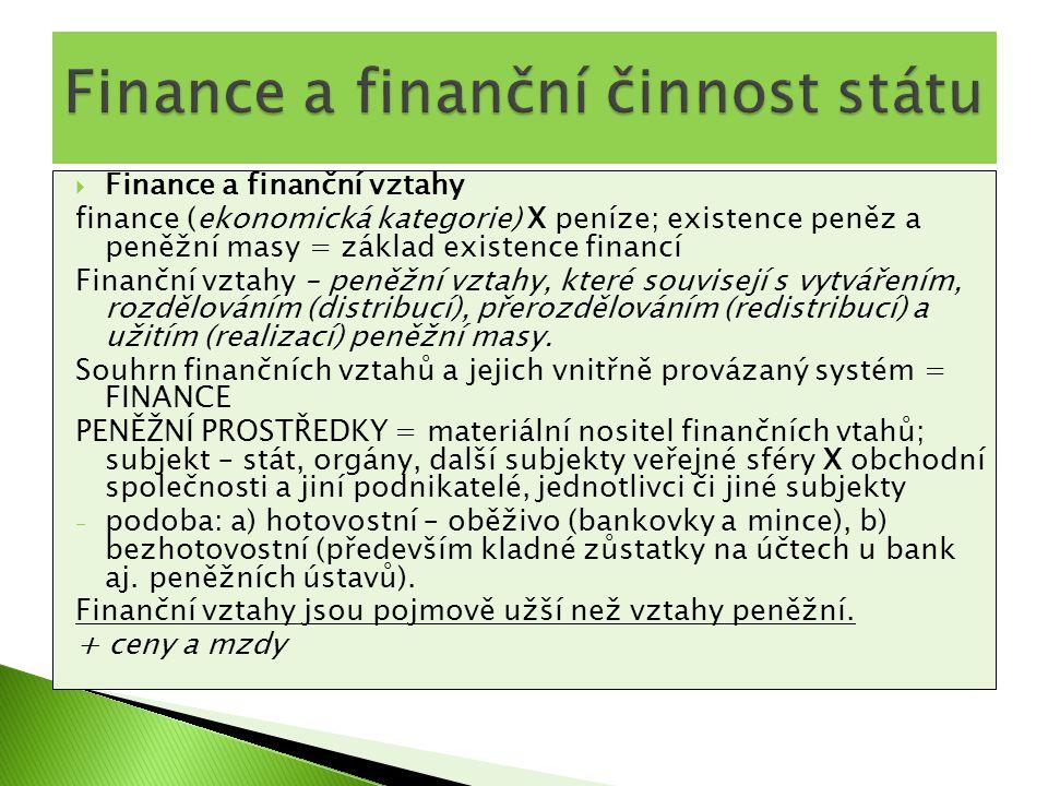  Finance a finanční vztahy finance (ekonomická kategorie) X peníze; existence peněz a peněžní masy = základ existence financí Finanční vztahy – peněž