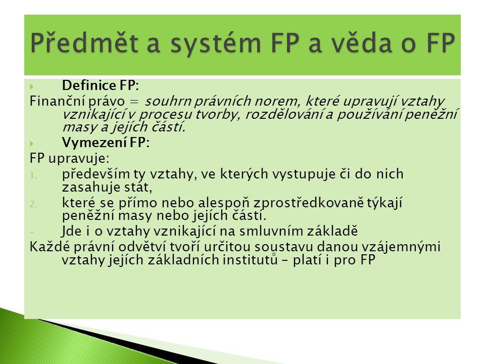  Definice FP: Finanční právo = souhrn právních norem, které upravují vztahy vznikající v procesu tvorby, rozdělování a používání peněžní masy a jejíc