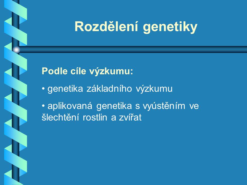 Rozdělení genetiky Podle cíle výzkumu: genetika základního výzkumu aplikovaná genetika s vyústěním ve šlechtění rostlin a zvířat