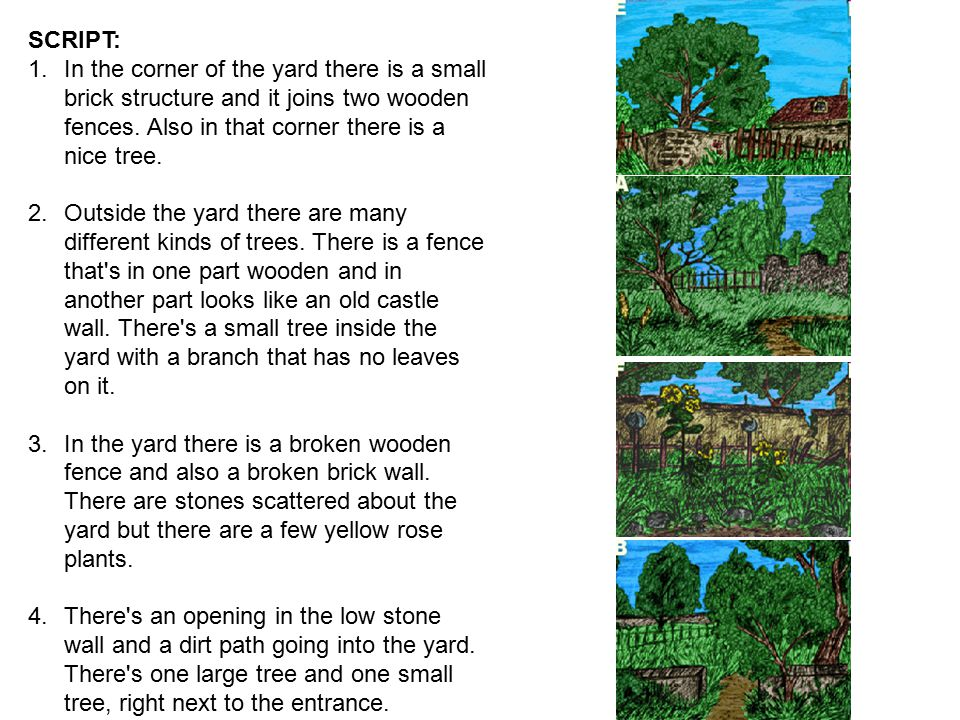 SCRIPT: 1.In the corner of the yard there is a small brick structure and it joins two wooden fences. Also in that corner there is a nice tree. 2.Outsi