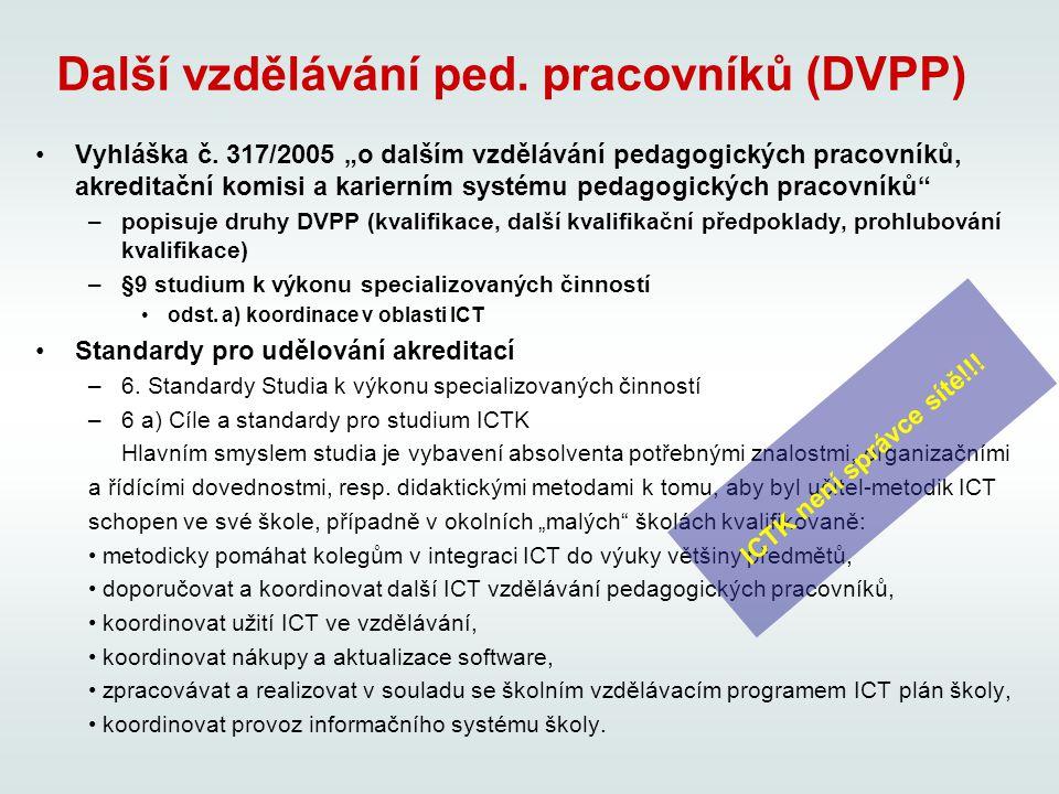 Další vzdělávání ped. pracovníků (DVPP) Vyhláška č.