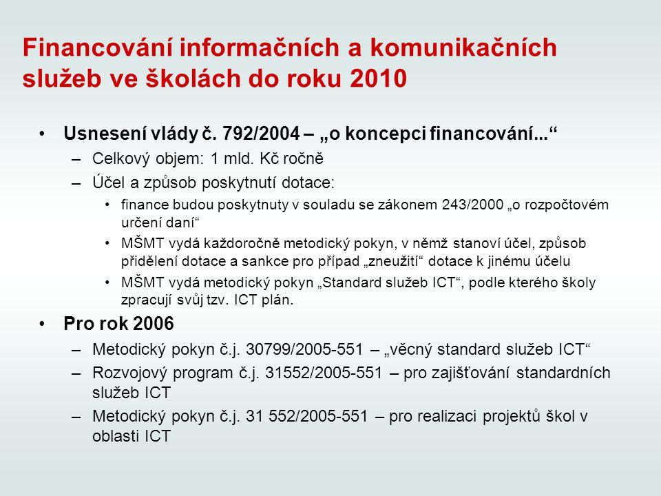 Financování informačních a komunikačních služeb ve školách do roku 2010 Usnesení vlády č.
