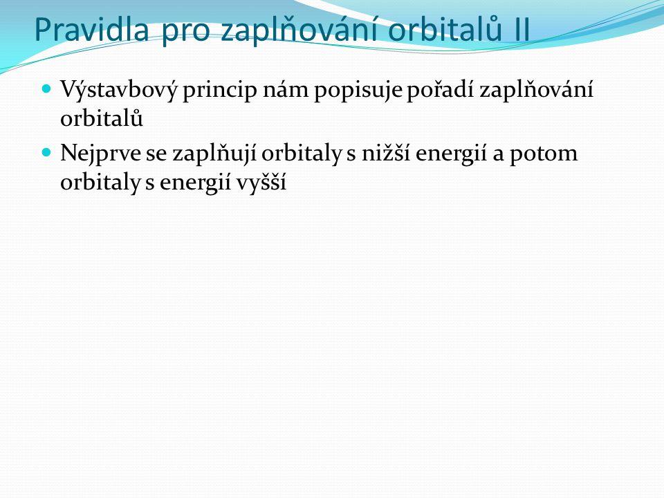 Pravidla pro zaplňování orbitalů II Výstavbový princip nám popisuje pořadí zaplňování orbitalů Nejprve se zaplňují orbitaly s nižší energií a potom orbitaly s energií vyšší