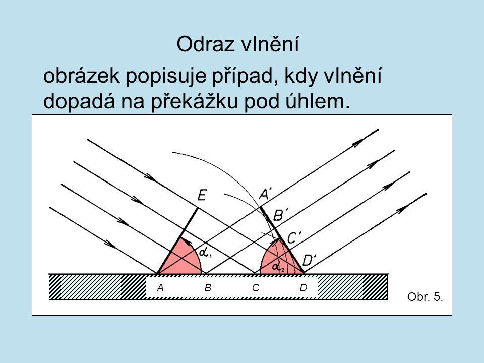 Odraz vlnění obrázek popisuje případ, kdy vlnění dopadá na překážku pod úhlem. A B C D Obr. 5.