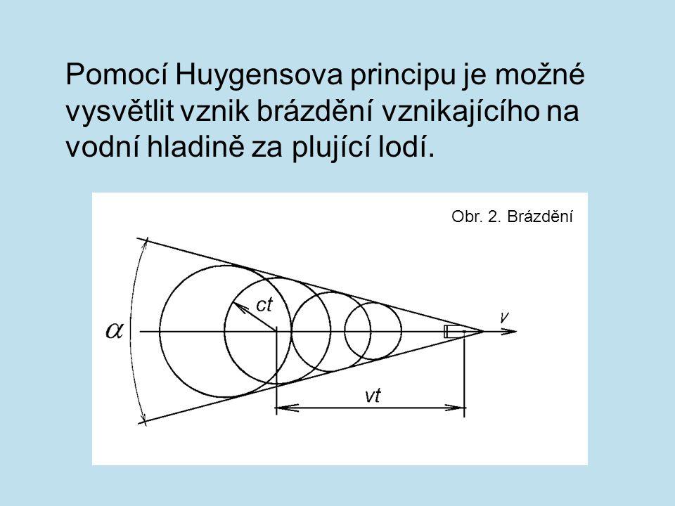Pomocí Huygensova principu je možné vysvětlit vznik brázdění vznikajícího na vodní hladině za plující lodí. Obr. 2. Brázdění