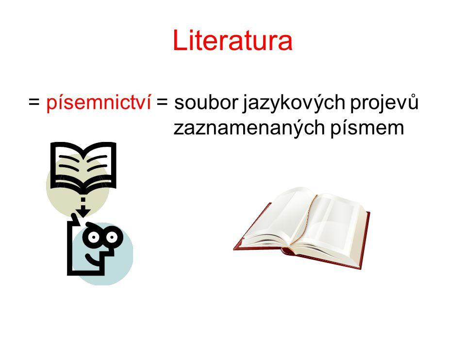 Literatura = písemnictví = soubor jazykových projevů zaznamenaných písmem