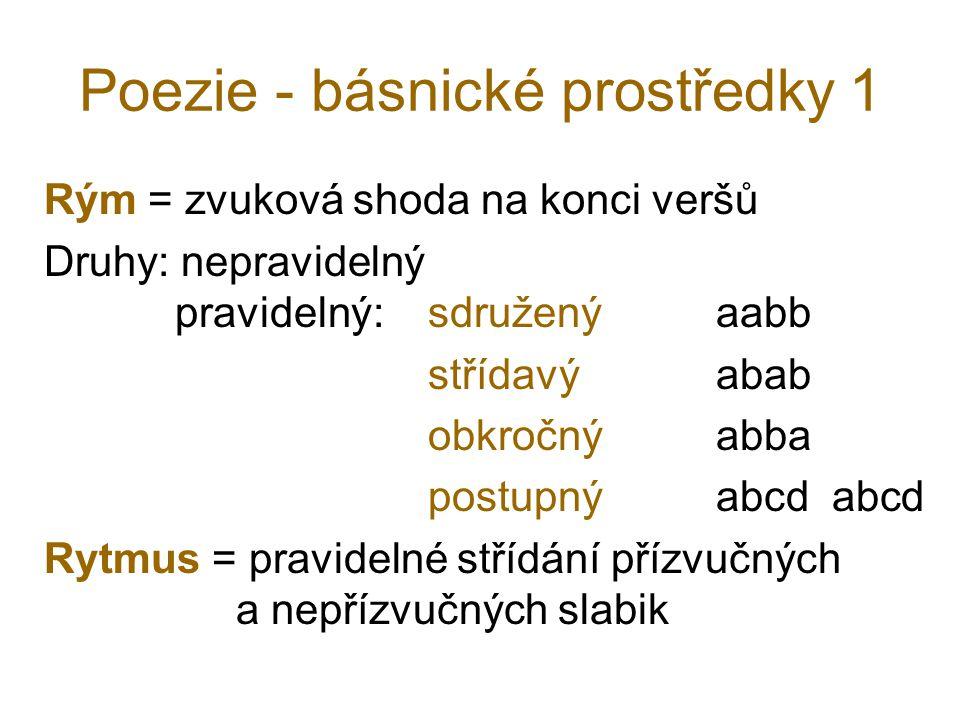 Poezie - básnické prostředky 1 Rým = zvuková shoda na konci veršů Druhy: nepravidelný pravidelný: sdružený aabb střídavý abab obkročný abba postupný a