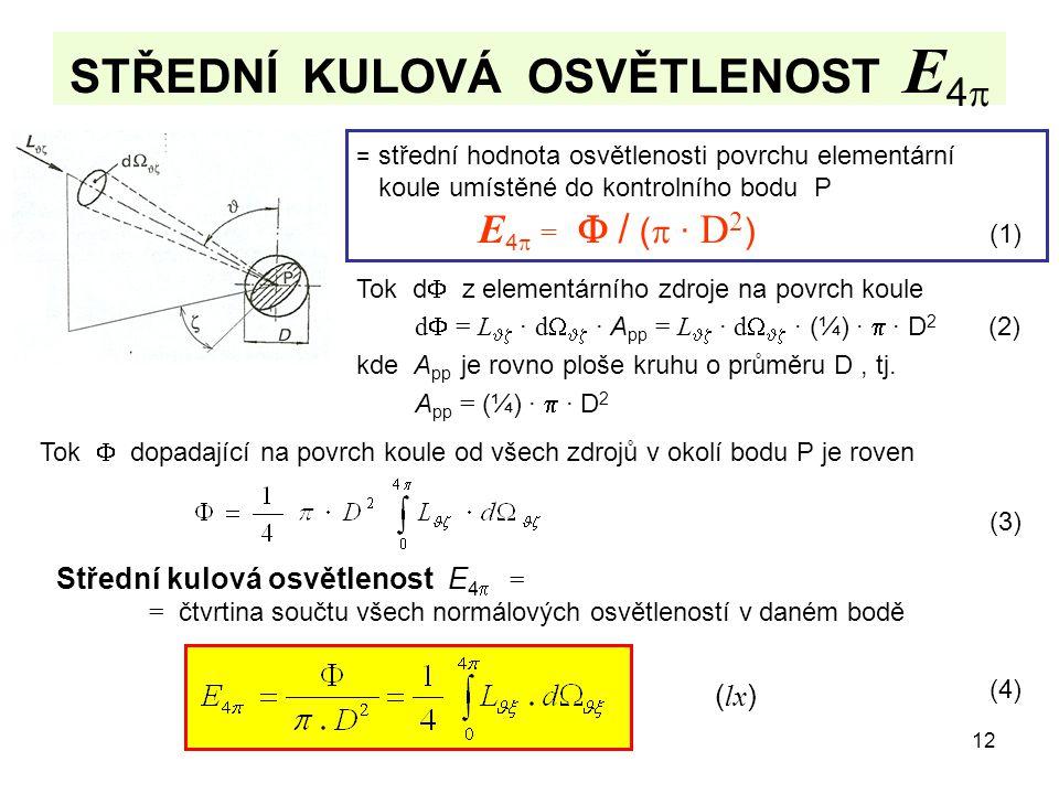 12 STŘEDNÍ KULOVÁ OSVĚTLENOST E 4  = střední hodnota osvětlenosti povrchu elementární koule umístěné do kontrolního bodu P E 4  =  / (  · D 2 ) (1