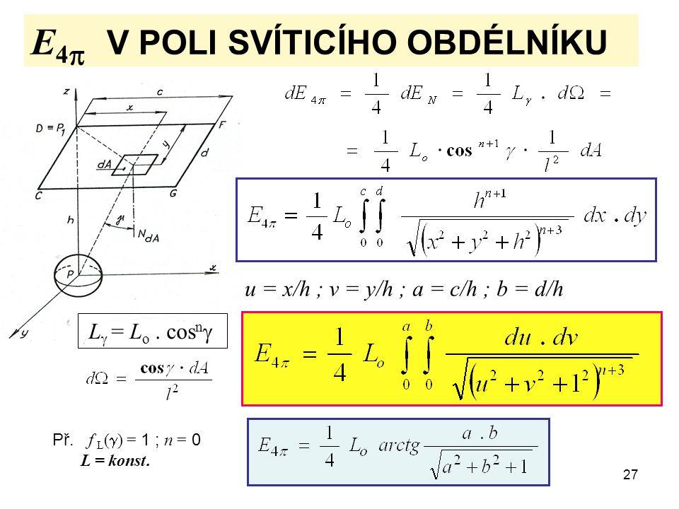 27 E 4   V POLI SVÍTICÍHO OBDÉLNÍKU u = x/h ; v = y/h ; a = c/h ; b = d/h L  = L o. cos n  Př. f L (  ) = 1 ; n = 0 L = konst.