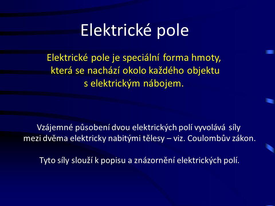 Elektrické pole Elektrické pole je speciální forma hmoty, která se nachází okolo každého objektu s elektrickým nábojem. Vzájemné působení dvou elektri