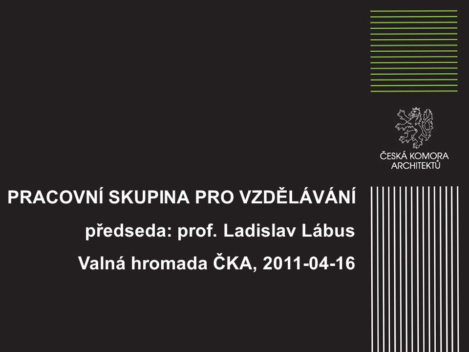 PRACOVNÍ SKUPINA PRO VZDĚLÁVÁNÍ předseda: prof. Ladislav Lábus Valná hromada ČKA, 2011-04-16