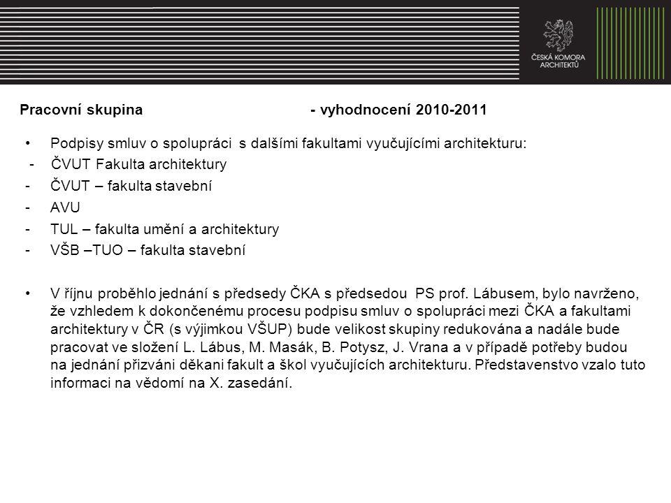 Pracovní skupina - vyhodnocení 2010-2011 Kontinuální spolupráce s Autorizační radou ČKA v oblasti vzdělávání a aktualizace tzv.