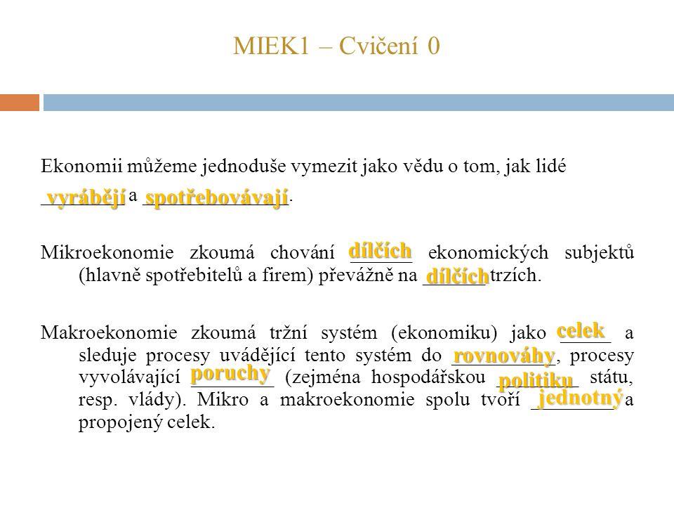 MIEK1 – Cvičení 0 Ekonomii můžeme jednoduše vymezit jako vědu o tom, jak lidé ________ a ______________. Mikroekonomie zkoumá chování ______ ekonomick