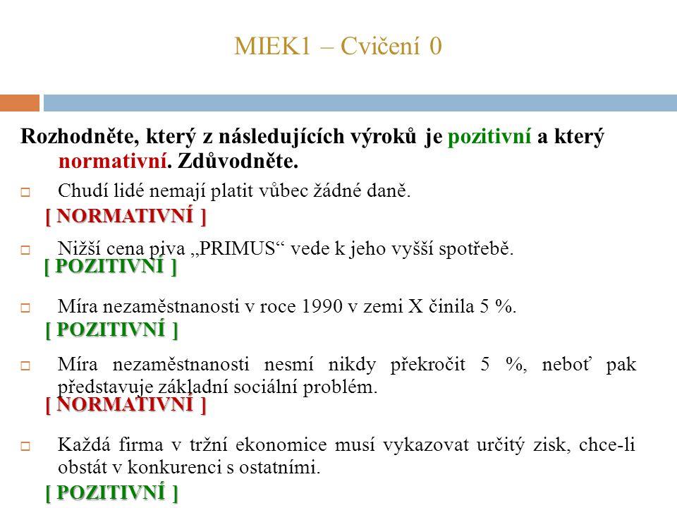 MIEK1 – Cvičení 0 Rozhodněte, který z následujících výroků je pozitivní a který normativní. Zdůvodněte.  Chudí lidé nemají platit vůbec žádné daně. 