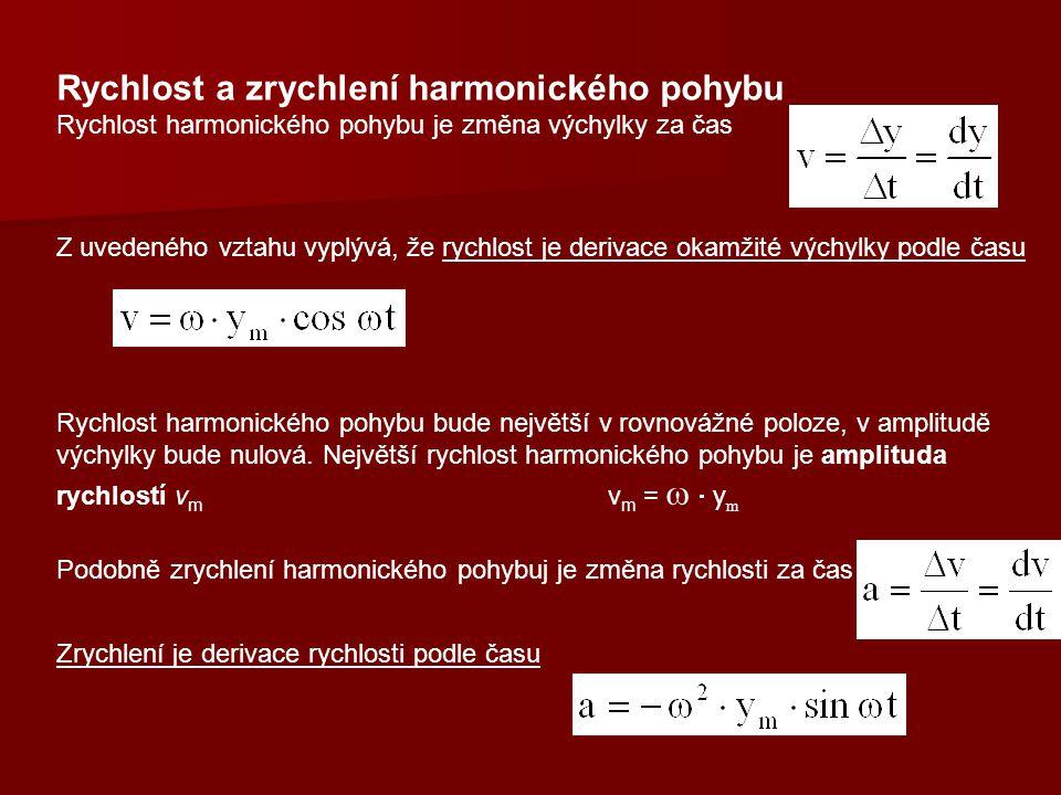 Rychlost a zrychlení harmonického pohybu Rychlost harmonického pohybu je změna výchylky za čas Z uvedeného vztahu vyplývá, že rychlost je derivace okamžité výchylky podle času Rychlost harmonického pohybu bude největší v rovnovážné poloze, v amplitudě výchylky bude nulová.