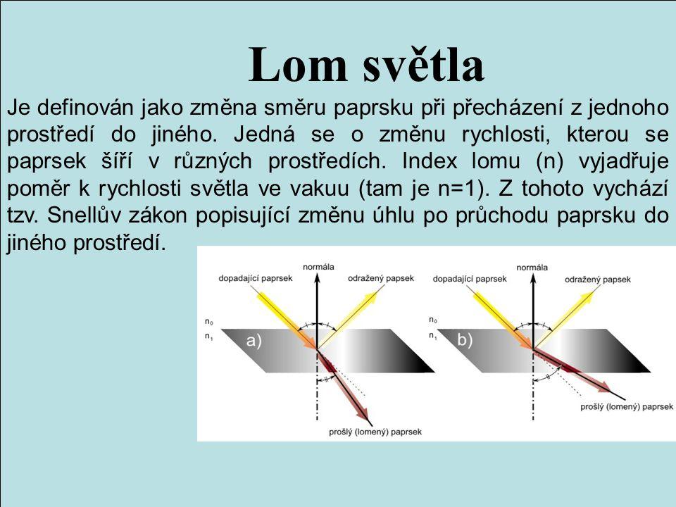 Lom světla Je definován jako změna směru paprsku při přecházení z jednoho prostředí do jiného. Jedná se o změnu rychlosti, kterou se paprsek šíří v rů