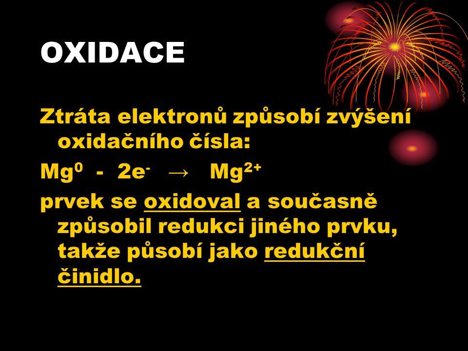 REDUKCE Přijetí elektronů způsobí snížení oxidačního čísla: O 0 + 2e - → O 2- Prvek se redukoval a současně způsobil oxidaci jiného prvku, takže působí jako oxidační činidlo.