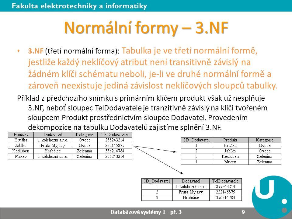 Normální formy – 3.NF 3.NF (třetí normální forma): Tabulka je ve třetí normální formě, jestliže každý neklíčový atribut není transitivně závislý na žá
