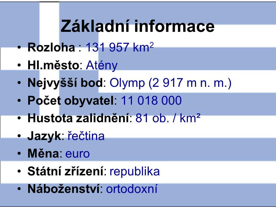 Základní informace Rozloha : 131 957 km 2 Hl.město: Atény Nejvyšší bod: Olymp (2 917 m n. m.) Počet obyvatel: 11 018 000 Hustota zalidnění: 81 ob. / k