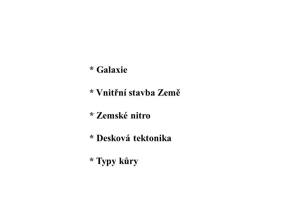* Galaxie * Vnitřní stavba Země * Zemské nitro * Desková tektonika * Typy kůry