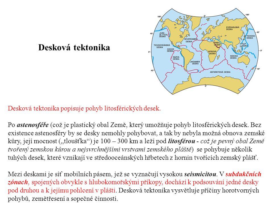 Desková tektonika popisuje pohyb litosférických desek. Po astenosféře (což je plastický obal Země, který umožňuje pohyb litosférických desek. Bez exis
