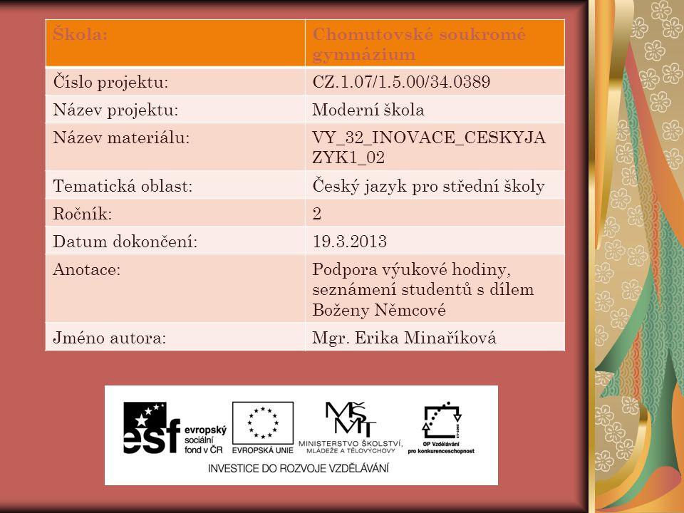 Škola:Chomutovské soukromé gymnázium Číslo projektu:CZ.1.07/1.5.00/34.0389 Název projektu:Moderní škola Název materiálu:VY_32_INOVACE_CESKYJA ZYK1_02
