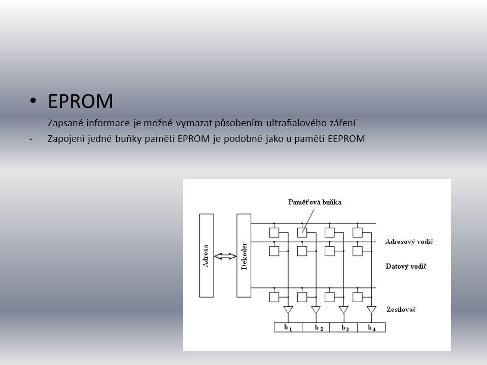 EPROM -Zapsané informace je možné vymazat působením ultrafialového záření -Zapojení jedné buňky paměti EPROM je podobné jako u paměti EEPROM