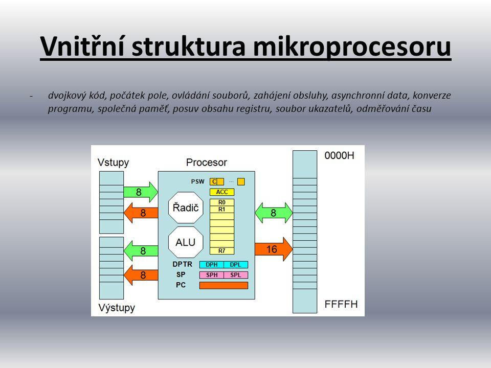 Vnitřní struktura mikroprocesoru -dvojkový kód, počátek pole, ovládání souborů, zahájení obsluhy, asynchronní data, konverze programu, společná paměť,