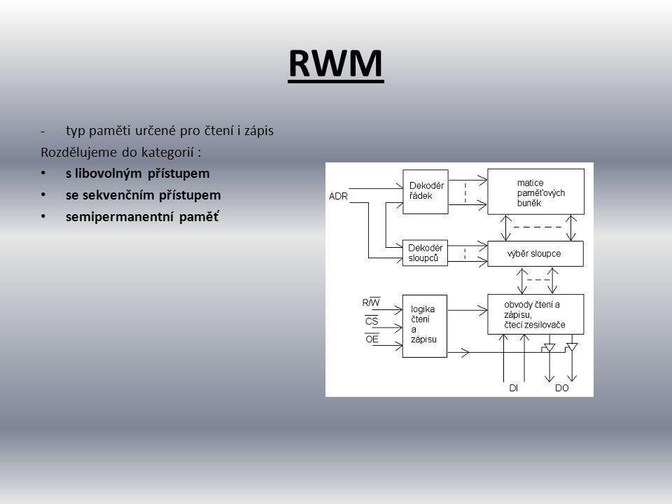 RWM -typ paměti určené pro čtení i zápis Rozdělujeme do kategorií : s libovolným přístupem se sekvenčním přístupem semipermanentní paměť