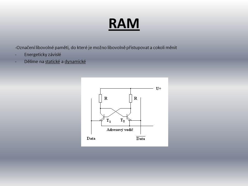 Statické a dynamické paměti (SRAM a DRAM) Statické paměti: -uchovávají informaci v sobě uloženou po celou dobu, kdy jsou připojeny ke zdroji elektrického napájení -je realizována jako bistabilní klopný obvod Dynamické paměti: -informace uložena pomocí elektrického náboje na kondenzátoru -je nutné periodicky provádět tzv.