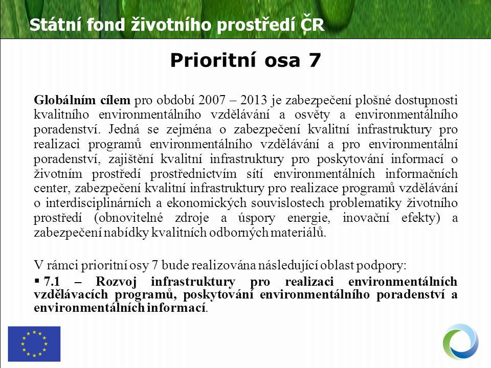 Prioritní osa 7 Globálním cílem pro období 2007 – 2013 je zabezpečení plošné dostupnosti kvalitního environmentálního vzdělávání a osvěty a environmentálního poradenství.