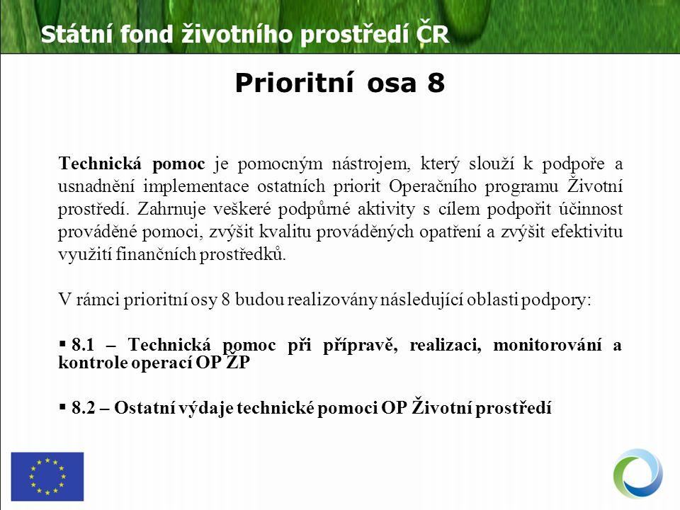 Prioritní osa 8 Technická pomoc je pomocným nástrojem, který slouží k podpoře a usnadnění implementace ostatních priorit Operačního programu Životní prostředí.