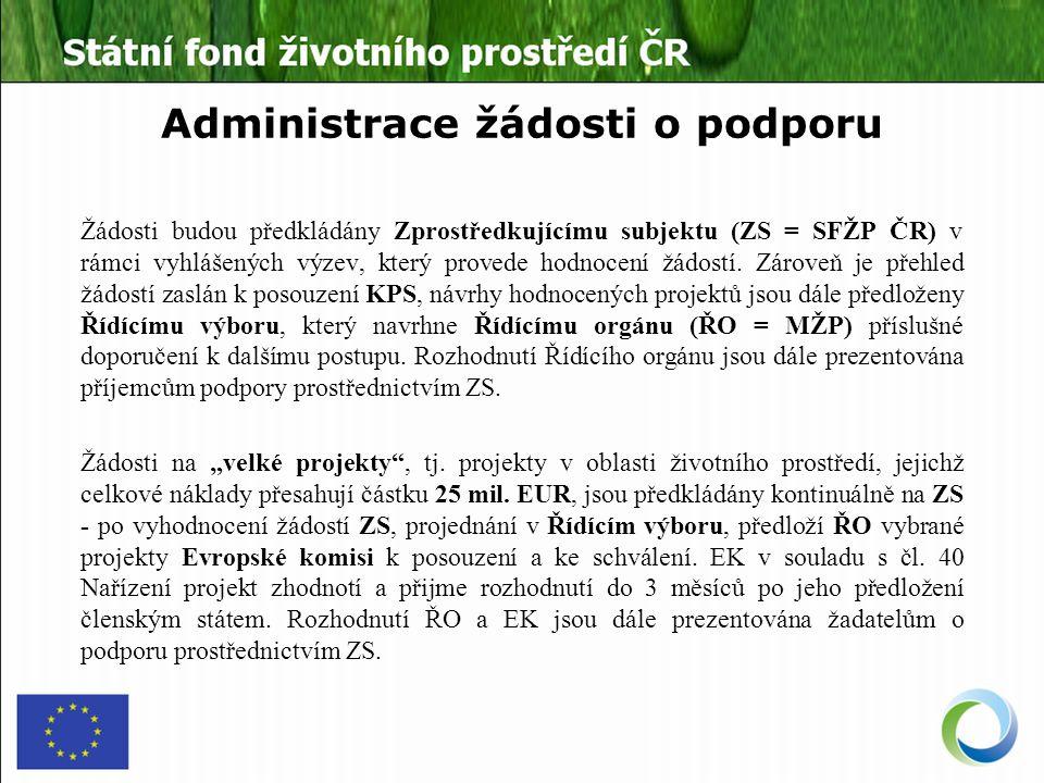Administrace žádosti o podporu Žádosti budou předkládány Zprostředkujícímu subjektu (ZS = SFŽP ČR) v rámci vyhlášených výzev, který provede hodnocení žádostí.